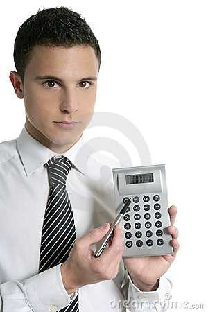 Businessman with calculator showing reports