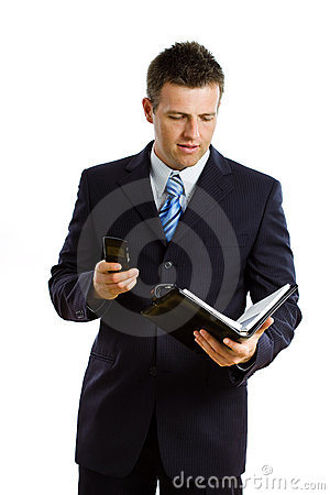 Businessman calling on phone isolated