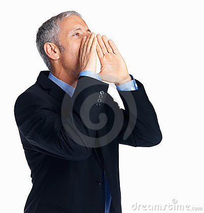 Businessman calling someone isolated on white