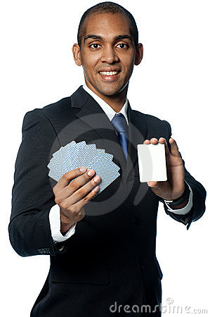 Businessman With Cards Royalty Free Stock Images - Image: 8295529
