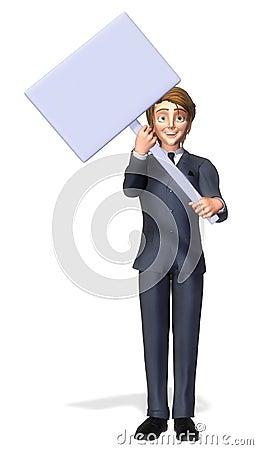 Businessman cartoon holding a sign