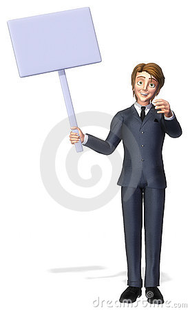 Businessman cartoon holding a sign 2