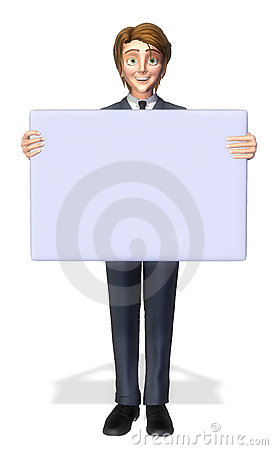 Businessman cartoon holding a sign 3
