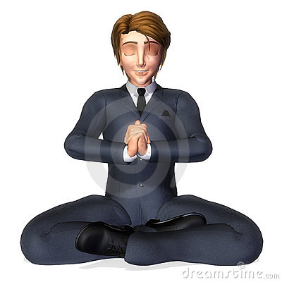 Businessman cartoon meditation pose