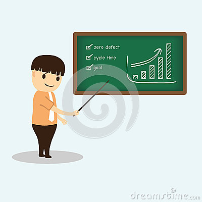 Businessman cartoon during meeting presentation on