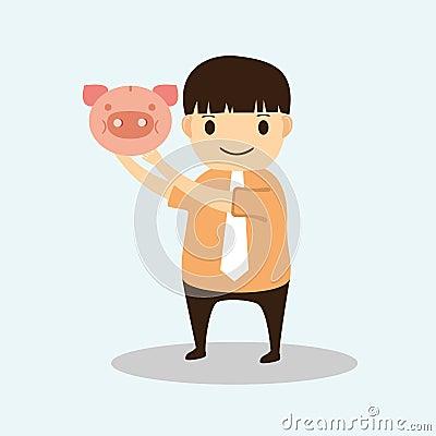 Businessman cartoon with piggy bank
