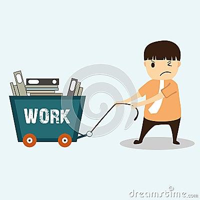 Businessman cartoon on work hard concept