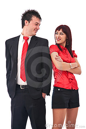 Businessman and casual woman