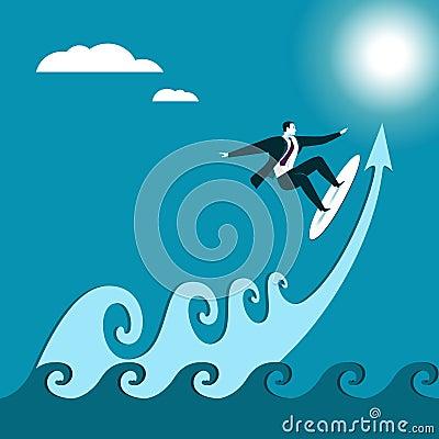 Business serfing. Wave. Cartoon Illustration