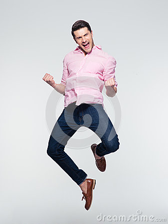 Free Businessman Celebrating His Success And Jumping Stock Photos - 55130633