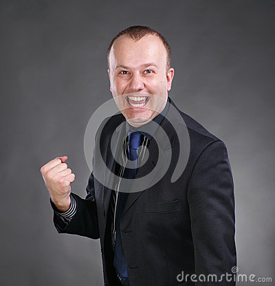 Businessman celebrating victory