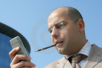 Businessman an cell phone