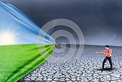 Businessman change drought to spring season
