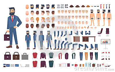 Businessman character constructor. Male clerk creation set. Different postures, hairstyle, face, legs, hands Vector Illustration
