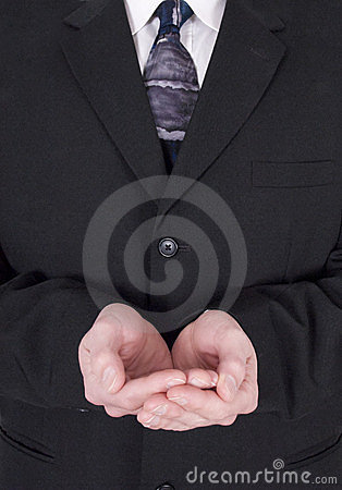Businessman, Charity, Cupped Hands Holding Nothing