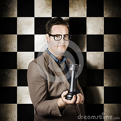 Businessman in chess strategy leadership challenge