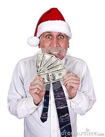 Businessman Christmas Bonus Santa Claus Hat Money