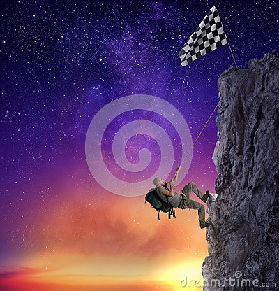 Free Businessman Climb A Mountain To Get The Flag. Achievement Business Goal And Difficult Career Concept Royalty Free Stock Photos - 98373158