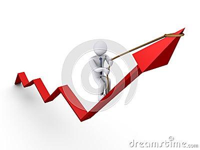Businessman climbing graph