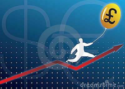 Businessman climbing graph with currency baloon