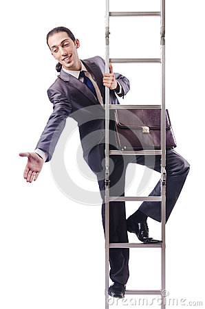 Businessman climbing the ladder