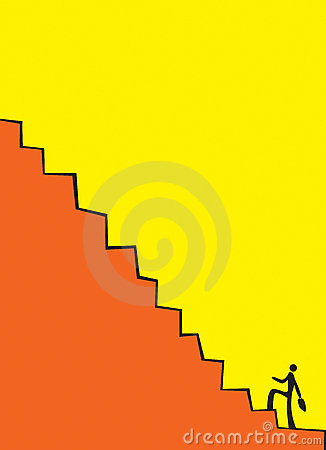 Businessman climbing the stair