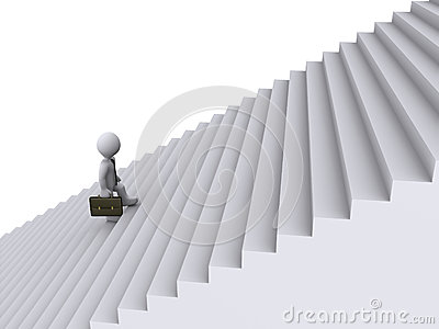 Businessman is climbing stairs