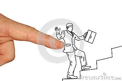 Businessman climbing up the career ladder