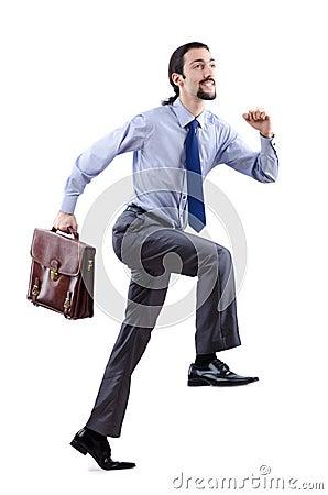 Businessman climbing virtual ladder