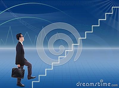 Businessman climbs stairways