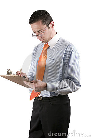 Businessman with clipboard on hand