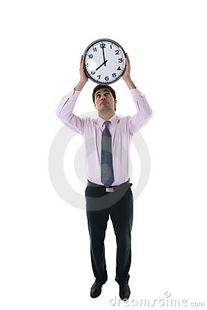 Businessman with Clock Above His Head