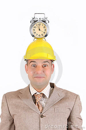 Businessman clock alarm on his head