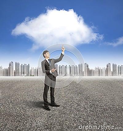 Businessman with cloud computin