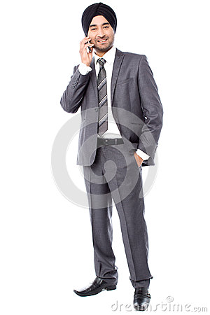 Businessman communicating with client