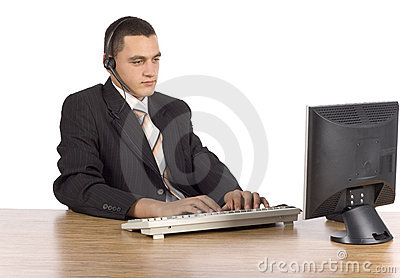Businessman at the computer