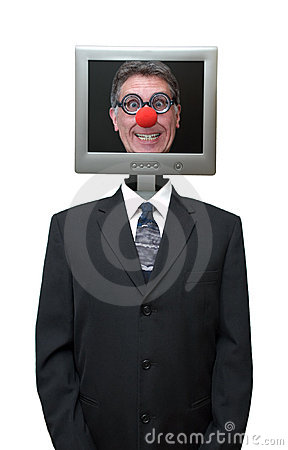 Businessman Computer Clown Isolated, Red Nose