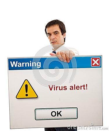 Businessman with computer virus alert