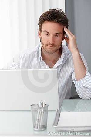 Businessman concentrating on computer work
