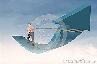 Businessman control arrow with chain on blue sky