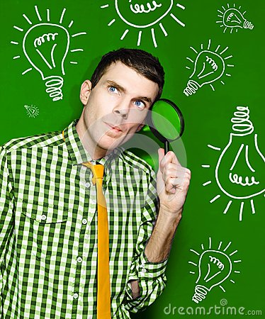 Businessman With Creative Idea On Green Background Stock Photo
