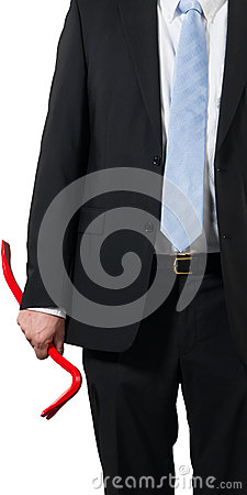 Businessman with a crowbar