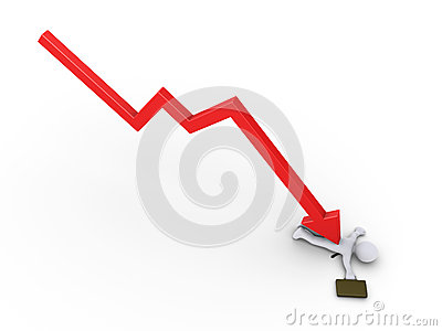 Businessman is crushed by arrow graph
