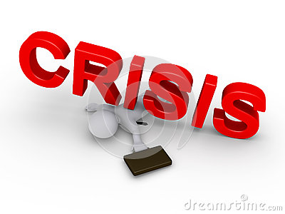Businessman crushed by crisis word