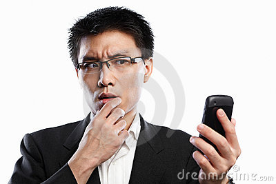Businessman curious expression using video call