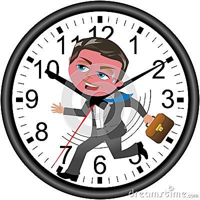 Businessman Deadline Clock Running Isolated