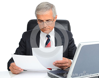 Businessman at desk with computer and papers