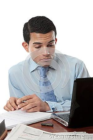 Businessman at desk working