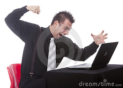 Businessman destroying his PC