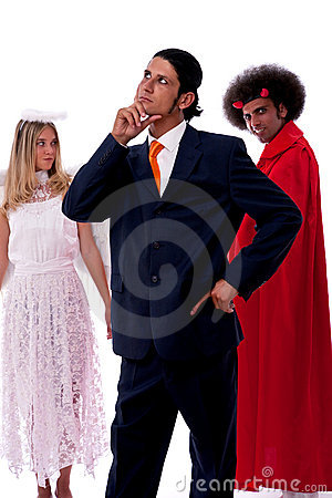Businessman, devil and angel